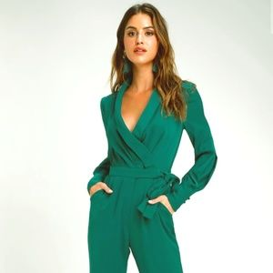 Charis Forest Green Long Sleeve Jumpsuit